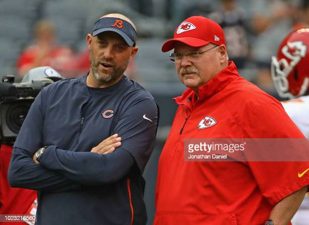 Head coach Matt Nagy of the Chicago Bears talks with head coach Andy Reid of the Kansas City Chiefs before a preseason game at Soldier Field on...