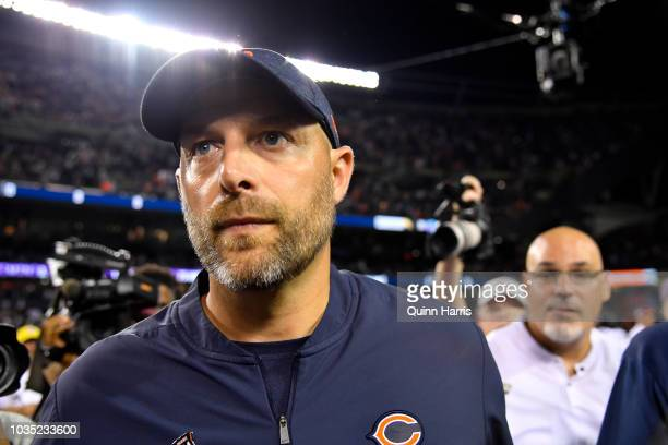 Head coach Matt Nagy of the Chicago Bears walks off of the field after defeating the Seattle Seahawks 2417 at Soldier Field on September 17 2018 in...