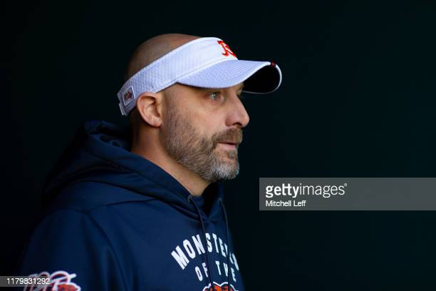 Head coach Matt Nagy of the Chicago Bears walks onto the field prior to the game against the Philadelphia Eagles at Lincoln Financial Field on...