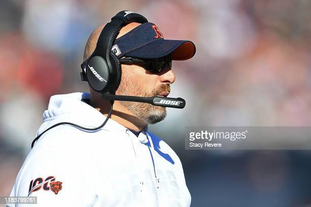 Head coach Matt Nagy of the Chicago Bears watches action during a game against the Los Angeles Chargers at Soldier Field on October 27, 2019 in...