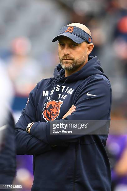 Head coach Matt Nagy of the Chicago Bears watches action prior to a game against the Minnesota Vikings at Soldier Field on September 29, 2019 in...