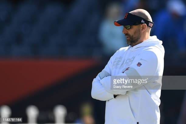 Head coach Matt Nagy of the Chicago Bears watches action prior to a game against the Los Angeles Chargers at Soldier Field on October 27, 2019 in...