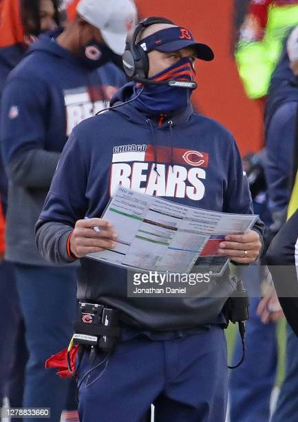 Head coach Matt Nagy of the Chicago Bears watches as his team takes on the Indianapolis Colts at Soldier Field on October 04, 2020 in Chicago,...