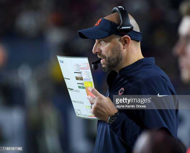 Head coach Matt Nagy of the Chicago Bears watches game action from the sidelines in the second half of the game against the Los Angeles Rams at the...