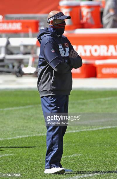 Head coach Matt Nagy of the Chicago Bears watches his team during warmups before a game against the New York Giants at Soldier Field on September 20...