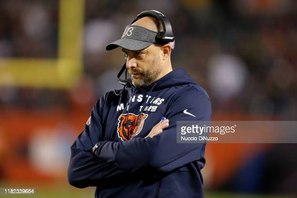 Head coach Matt Nagy of the Chicago Bears watches the action during the second half against the New Orleans Saints at Soldier Field on October 20,...