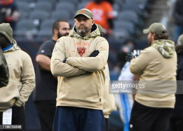 Head coach Matt Nagy of the Chicago Bears watches warm ups before the game against the Detroit Lions at Soldier Field on November 10, 2019 in...