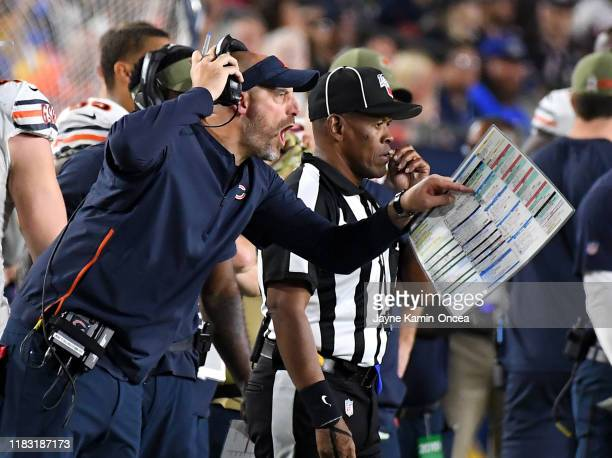 Head coach Matt Nagy of the Chicago Bears yells from the sidelines in the second half of the game against the Los Angeles Rams at the Los Angeles...