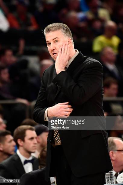 Head coach Matt Painter of the Purdue Boilermakers looks on against the Penn State Nittany Lions during the semifinals of the Big Ten Basketball...