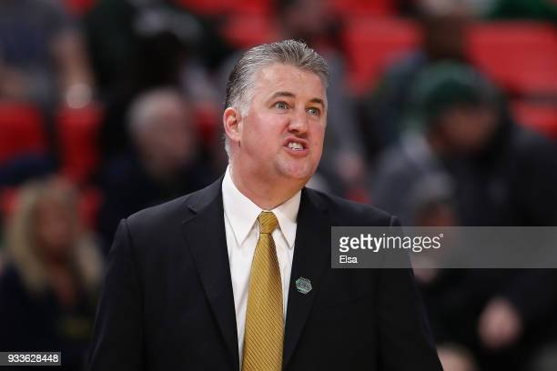 Head coach Matt Painter of the Purdue Boilermakers reacts against the Butler Bulldogs in the second round of the 2018 NCAA Men's Basketball...