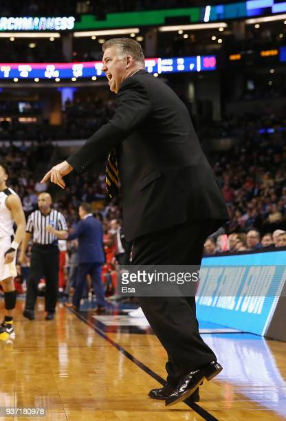 Head coach Matt Painter of the Purdue Boilermakers reacts during the first half against the Texas Tech Red Raiders in the 2018 NCAA Men's Basketball...