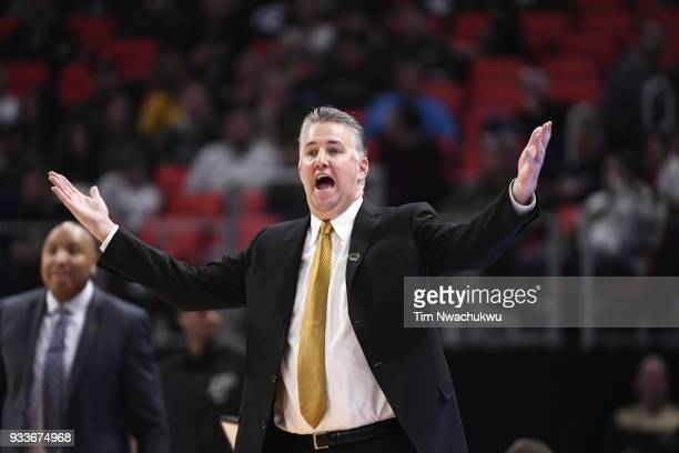 head coach Matt Painter of the Purdue Boilermakers reacts while playing the Butler Bulldogs in the second round of the 2018 NCAA Men's Basketball...