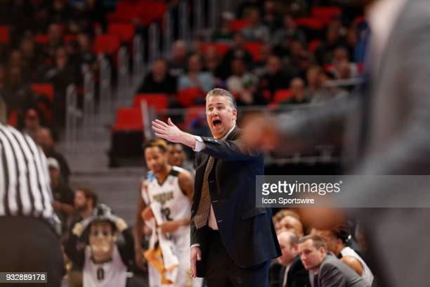 Head Coach Matt Painter of the Purdue Boilermakers yells across the court during the NCAA Division I Men's Basketball Championship First Round game...