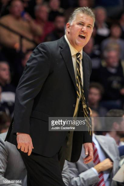 Head coach Matt Painter of the Purdue Boilermakers yells at his team in the game against the Fairfield Stags at Mackey Arena on November 6 2018 in...