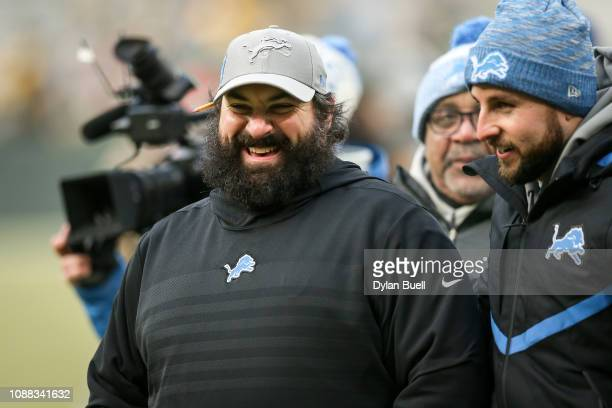 Head coach Matt Patricia of the Detroit Lions celebrates after beating the Green Bay Packers 310 at Lambeau Field on December 30 2018 in Green Bay...