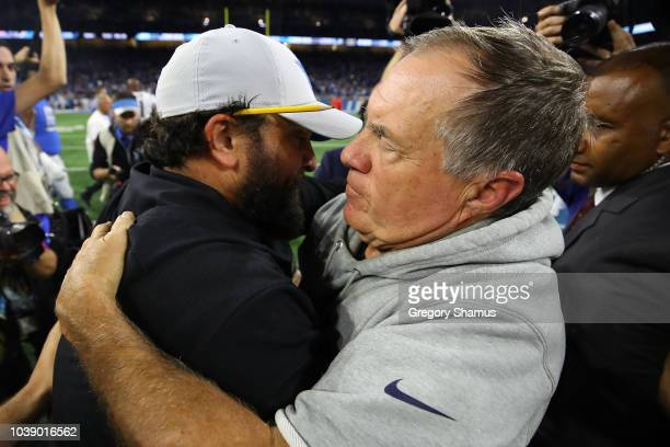 Head coach Matt Patricia of the Detroit Lions hugs Bill Belichick of the New England Patriots after a 2610 win over his former team at Ford Field on...