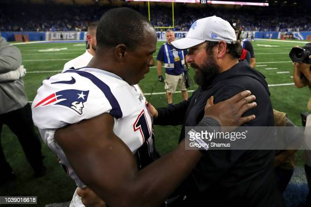 Head coach Matt Patricia of the Detroit Lions hugs Matthew Slater of the New England Patriots of the New England Patriots after a 2610 win over his...