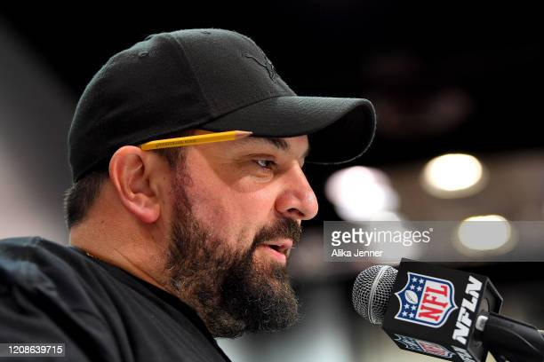 Head coach Matt Patricia of the Detroit Lions interviews during the first day of the NFL Scouting Combine at Lucas Oil Stadium on February 25 2020 in...