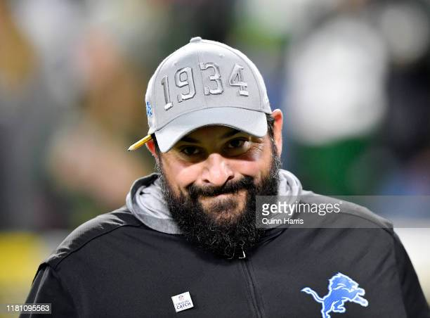 Head coach Matt Patricia of the Detroit Lions looks on before the game against the Green Bay Packers at Lambeau Field on October 14, 2019 in Green...