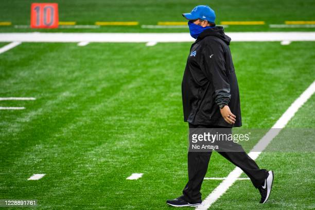 Head coach Matt Patricia of the Detroit Lions looks on before the first quarter against the New Orleans Saints at Ford Field on October 4, 2020 in...