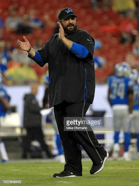 Head coach Matt Patricia of the Detroit Lions looks on during a preseason game against the Tampa Bay Buccaneers at Raymond James Stadium on August 24...