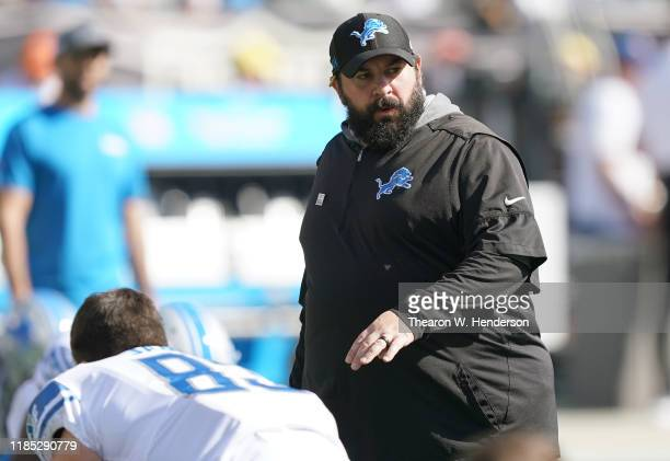 Head coach Matt Patricia of the Detroit Lions looks on during pregame warm ups prior to the start of an NFL football game against the Oakland Raiders...