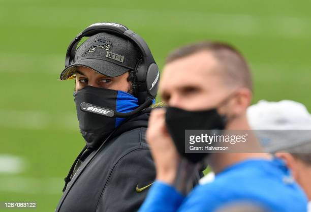 Head coach Matt Patricia of the Detroit Lions looks on during the first half against the Carolina Panthers at Bank of America Stadium on November 22,...