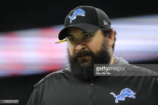 head coach Matt Patricia of the Detroit Lions looks on during warm ups prior to a game against the Chicago Bearsat Ford Field on November 28 2019 in...