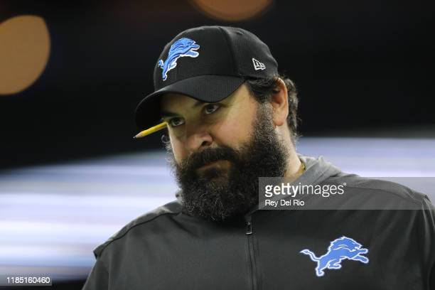 Head coach Matt Patricia of the Detroit Lions looks on during warms up prior to a game against the Chicago Bearsat Ford Field on November 28, 2019 in...