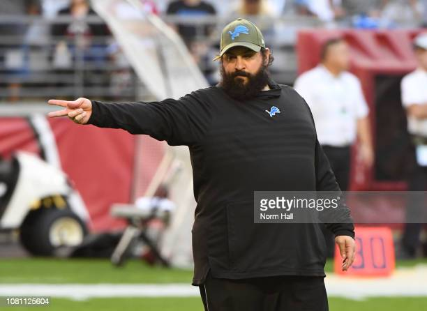 Head coach Matt Patricia of the Detroit Lions looks on during warmups prior to a game against the Arizona Cardinals at State Farm Stadium on December...