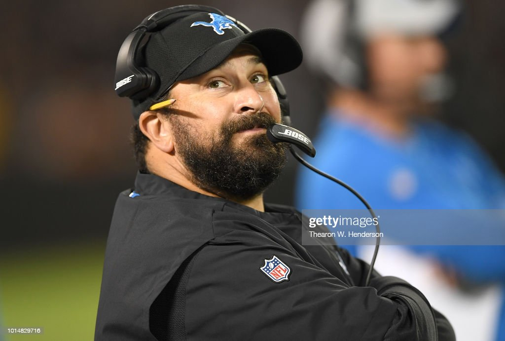 Head coach Matt Patricia of the Detroit Lions looks on from the sidelines against the Oakland Raiders during the second quarter of an NFL preseason football game at Oakland Alameda Coliseum on August 10, 2018 in Oakland, California.