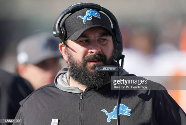 Head coach Matt Patricia of the Detroit Lions looks on from the sidelines against the Oakland Raiders during an NFL football game at RingCentral...