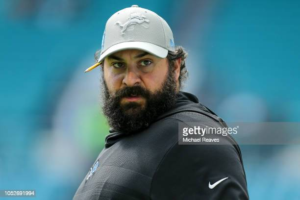 Head coach Matt Patricia of the Detroit Lions looks on prior to the game against the Miami Dolphins at Hard Rock Stadium on October 21 2018 in Miami...