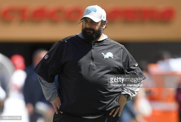 Head coach Matt Patricia of the Detroit Lions looks on while his team warms up prior to their game against the San Francisco 49ers at Levi's Stadium...