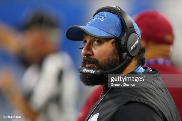Head coach Matt Patricia of the Detroit Lions looks on while playing the Cleveland Browns during a preseason game at Ford Field on August 30 2018 in...