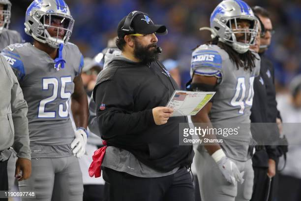 Head coach Matt Patricia of the Detroit Lions looks on while playing the Chicago Bears at Ford Field on November 28, 2019 in Detroit, Michigan....