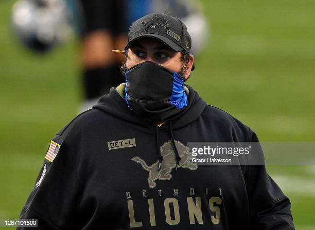 Head coach Matt Patricia of the Detroit Lions reacts after their 20-0 loss to the Carolina Panthers at Bank of America Stadium on November 22, 2020...