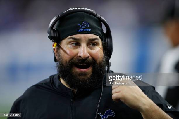 Head coach Matt Patricia of the Detroit Lions reacts to a play in the second half against the New York Jets at Ford Field on September 10 2018 in...