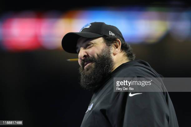 Head coach Matt Patricia of the Detroit Lions smiles during warm ups prior to a game against the Tampa Bay Buccaneers at Ford Field on December 15...