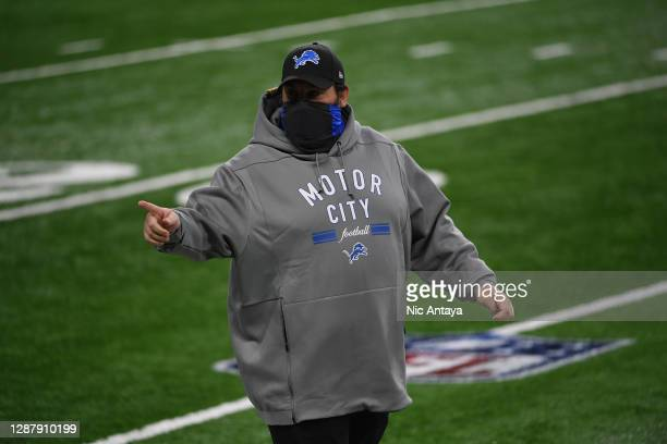 Head coach Matt Patricia of the Detroit Lions speaks to his team prior to a game against the Houston Texans at Ford Field on November 26, 2020 in...