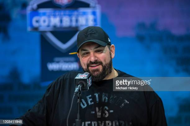 Head coach Matt Patricia of the Detroit Lions speaks to the media at the Indiana Convention Center on February 25 2020 in Indianapolis Indiana Matt...
