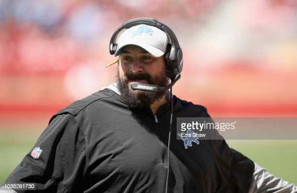 Head coach Matt Patricia of the Detroit Lions stands on the field during their game against the San Francisco 49ers at Levi's Stadium on September 16...