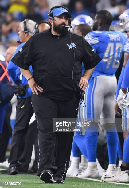 Head coach Matt Patricia of the Detroit Lions walks along the sideline in the second quarter of a preseason game against the Cleveland Browns on...
