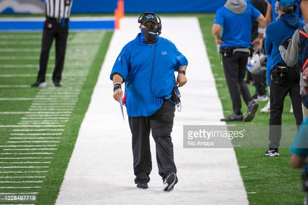 Head coach Matt Patricia of the Detroit Lions walks during the first quarter at Ford Field on September 13, 2020 in Detroit, Michigan.