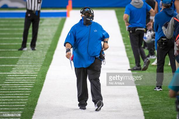 Head coach Matt Patricia of the Detroit Lions walks the sideline against the Chicago Bears during the first quarter at Ford Field on September 13,...