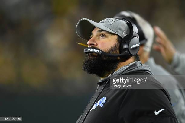 Head coach Matt Patricia of the Detroit Lions watches action during a game against the Green Bay Packers at Lambeau Field on October 14 2019 in Green...
