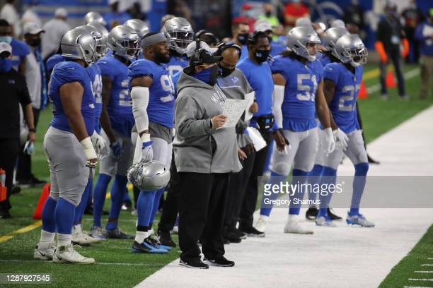Head coach Matt Patricia of the Detroit Lions watches action during a game against the Houston Texans at Ford Field on November 26, 2020 in Detroit,...