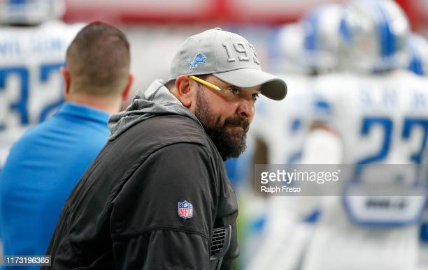 Head coach Matt Patricia of the Detroit Lions watches from the sidelines prior to the NFL football game against the Arizona Cardinals at State Farm...