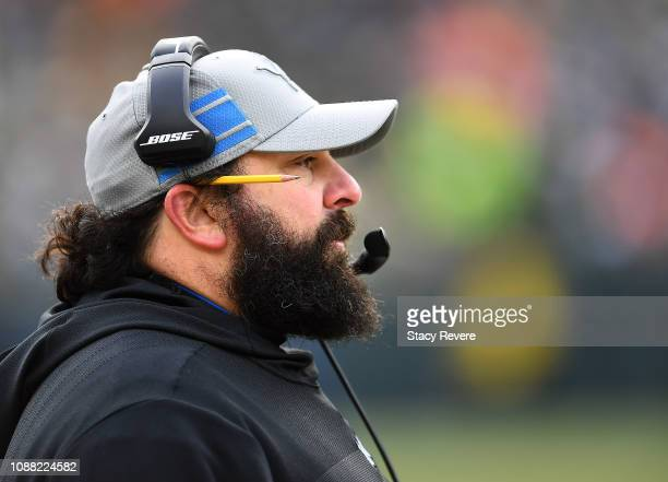 Head coach Matt Patricia of the Detroit Lions watches from the sideline during the second half of a game against the Green Bay Packers at Lambeau...