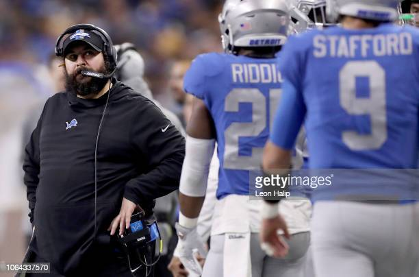 Head coach Matt Patricia of the Detroit Lions watches his team against the Chicago Bears during the second half at Ford Field on November 22 2018 in...
